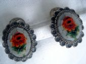 Vintage 1950s Italian 800 Silver Micromosaic Earclips with Red Roses (SOLD)